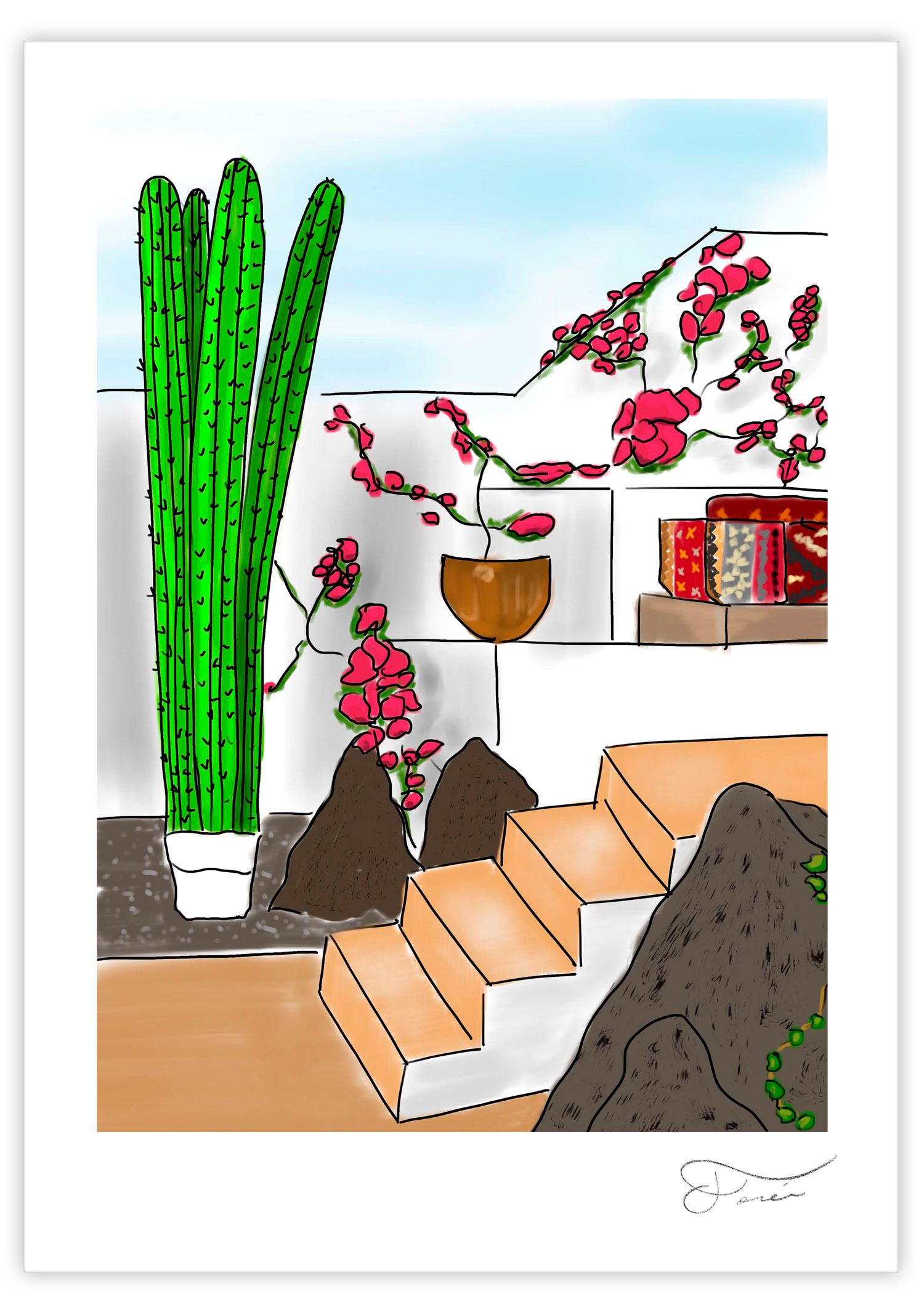 Cactus beach Carlos Forcen Ilustracion digital