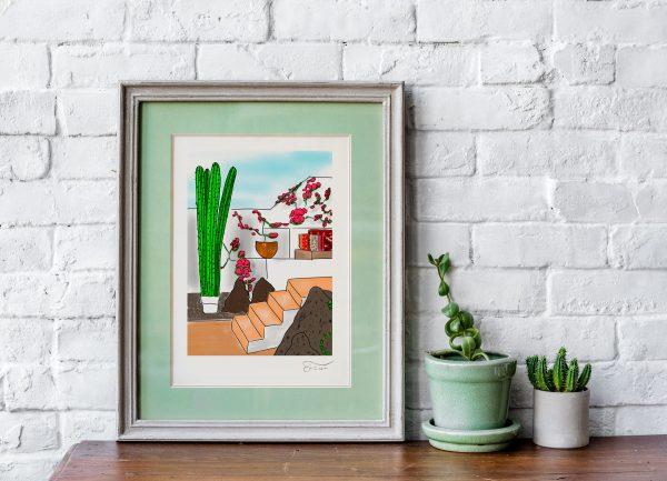 Cactus beach Carlos Forcen Ilustracion digital