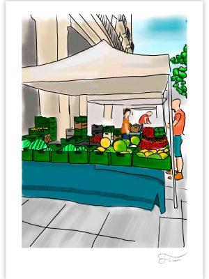 Ilustración digital de un mercado de agricultura ecológica realizada por Carlos Forcen.