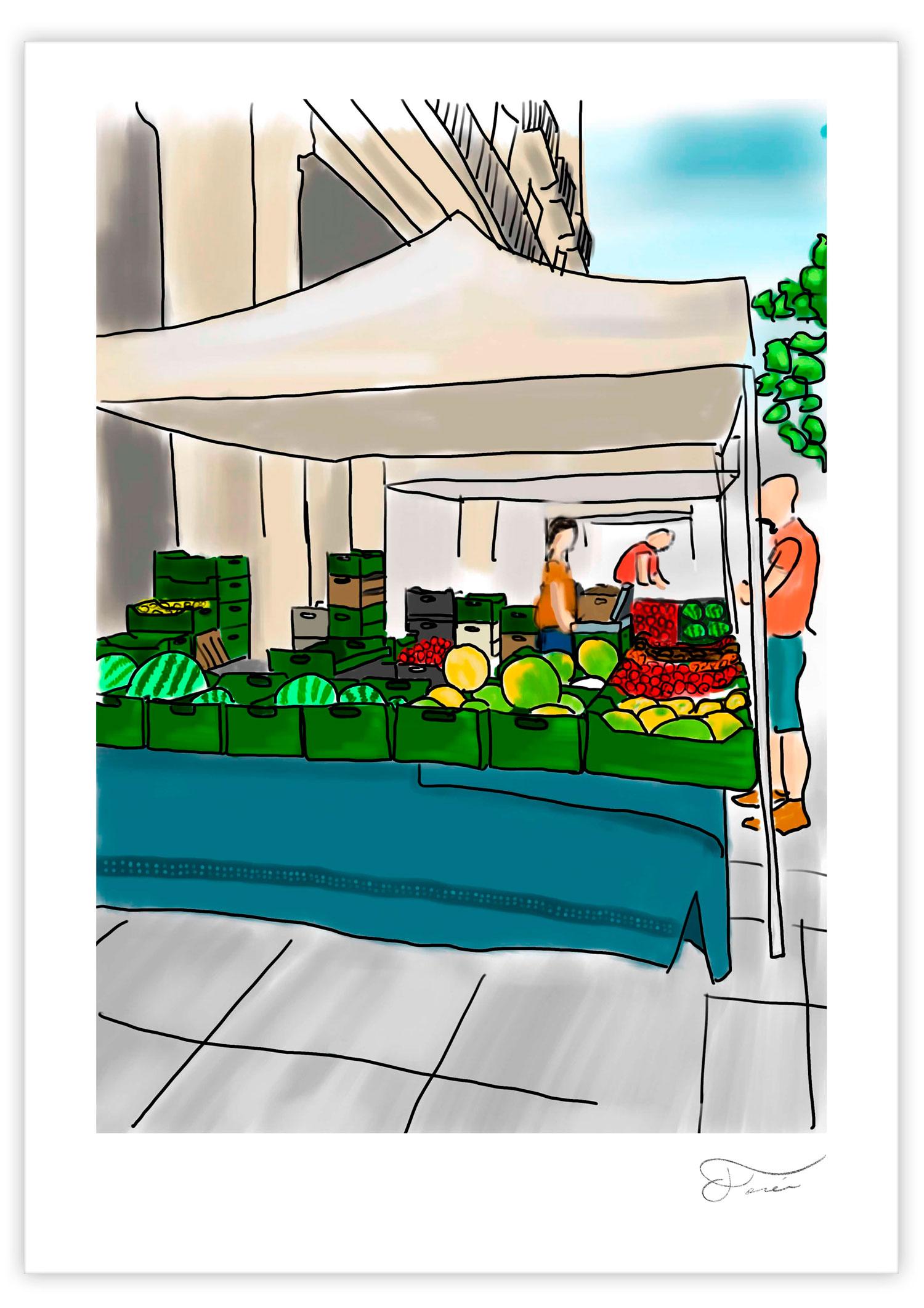 Ilustración mercado de agricultura ecológica realizada por Carlos Forcen.