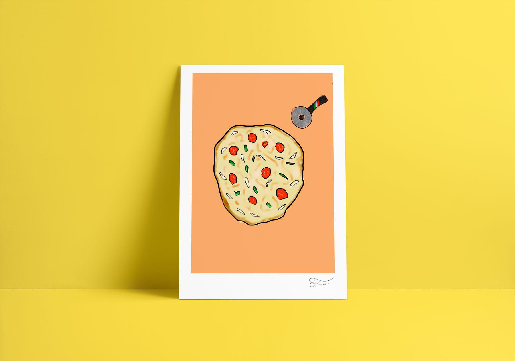 Pizza ilustración Carlos Forcén