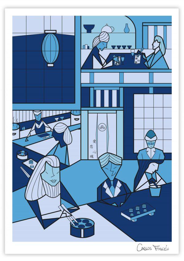 """Ilustracion """"Japanese Restaurant"""" realizada por Carlos Forcen"""