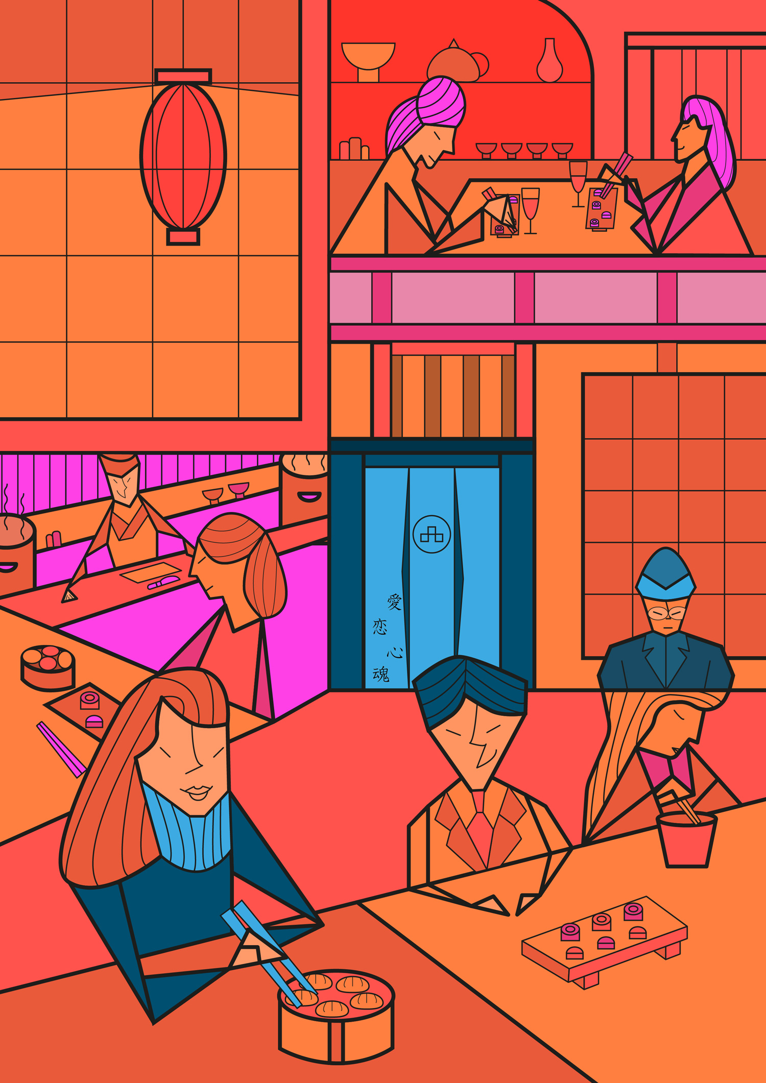 Japanese-Restaurant_carlosforcen-ilustracion_warm-version