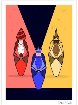 Ilustracion de los Reyes Magos realizada por Carlos Forcen