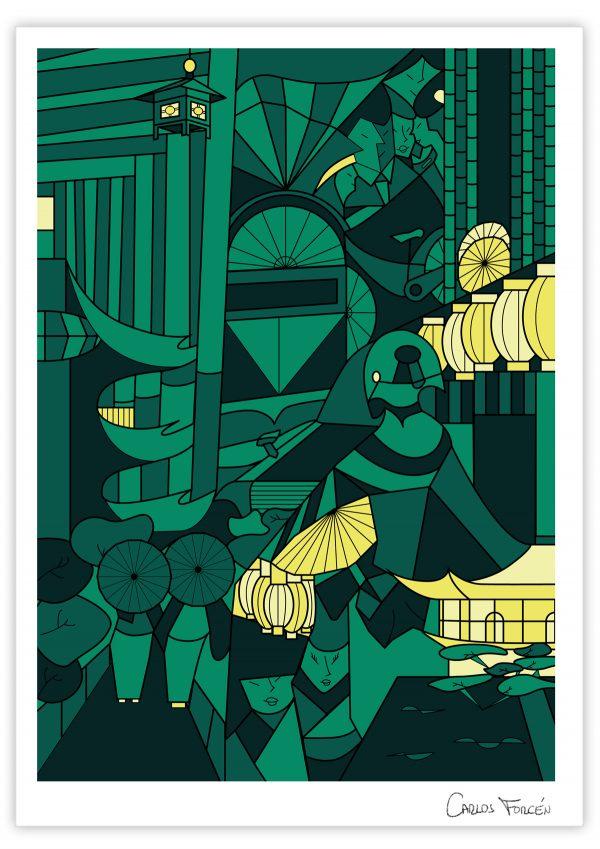 """Ilustracion """"Kioto Night"""" realizada por Carlos Forcen"""